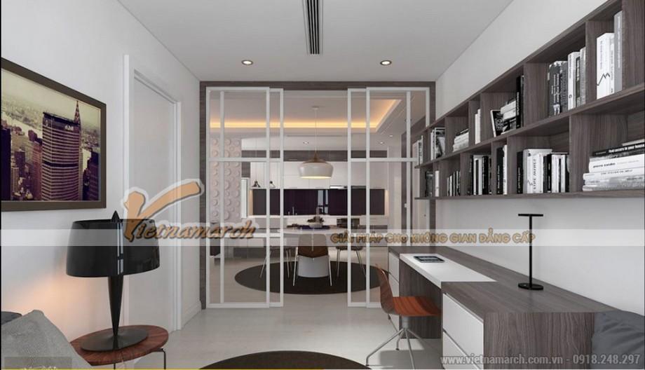 Phòng ngủ căn hộ Park Hill được cải tạo có view nhìn ra phòng ăn
