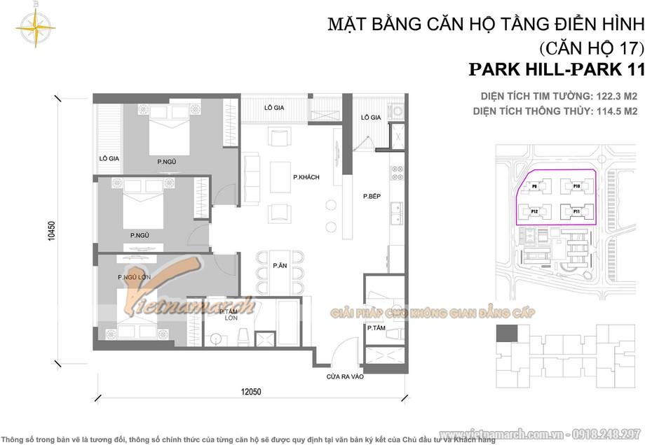 Mặt bằng thiết kế căn hộ 07 tòa Park 11 chung cư Park Hill – Times City