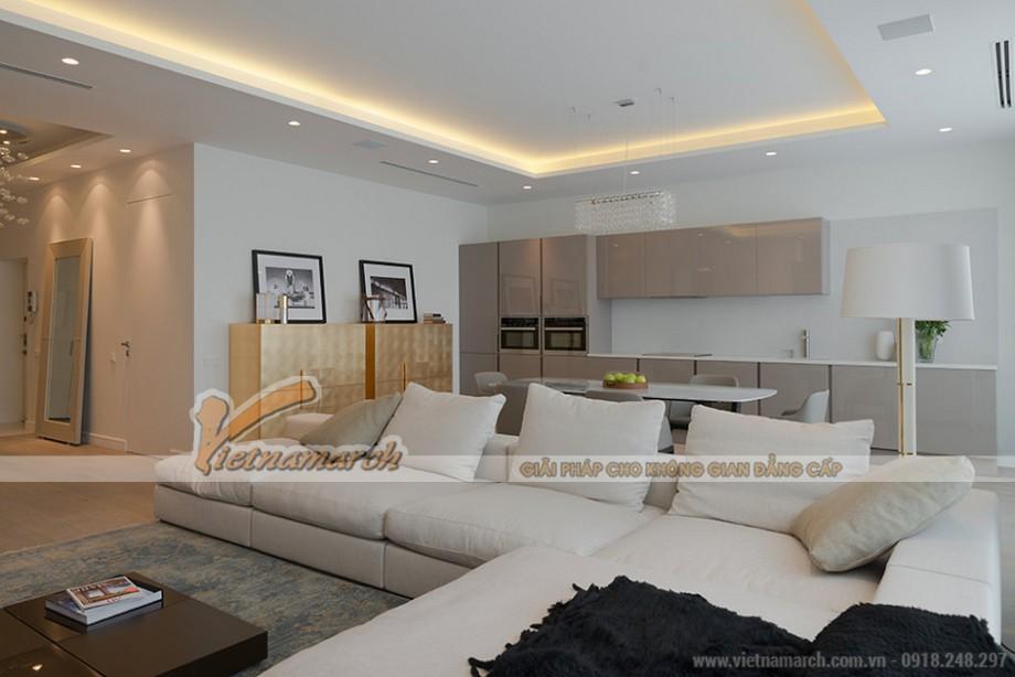 Phòng khách sang trọng với tone màu sáng