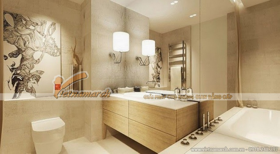 Thiết kế nội thất phòng tắm căn hộ Park Hill phong cách châu Âu hiện đại