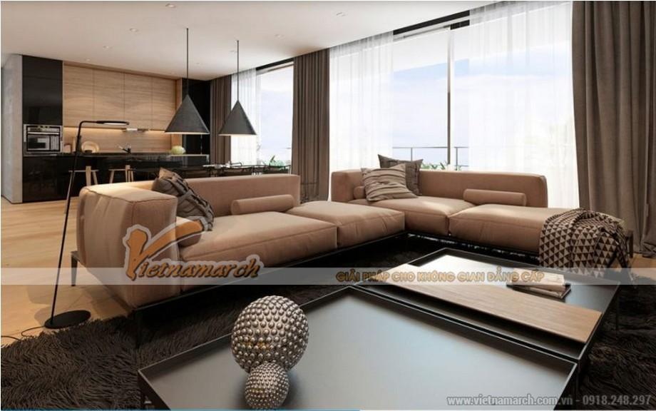 Phòng khách hiện đại với không gian thoáng vô cùng được thiết kế gần logia