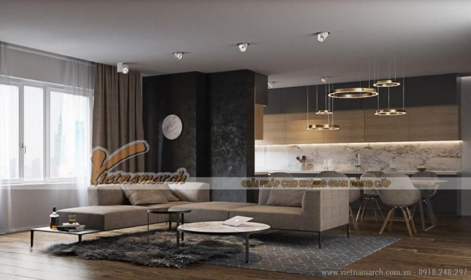 Nội thất phòng khách + phòng bếp hiện đại căn hộ Park Hill