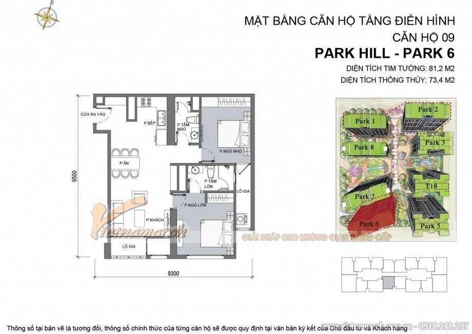 Mặt bằng thiết kế căn hộ 09 tòa Park 6 Park Hill – Times City