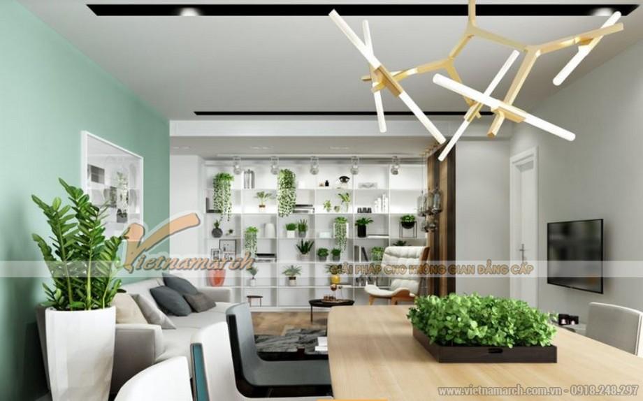 Thiết kế nội thất căn hộ 09 tòa Park 6 Park Hill – Times City mang nhiều cây xanh trong phòng