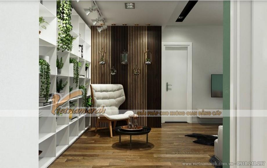Thiết kế nội thất khu vực đọc sách căn hộ 09 tòa Park 6 Park Hill – Times City với không gian xanh