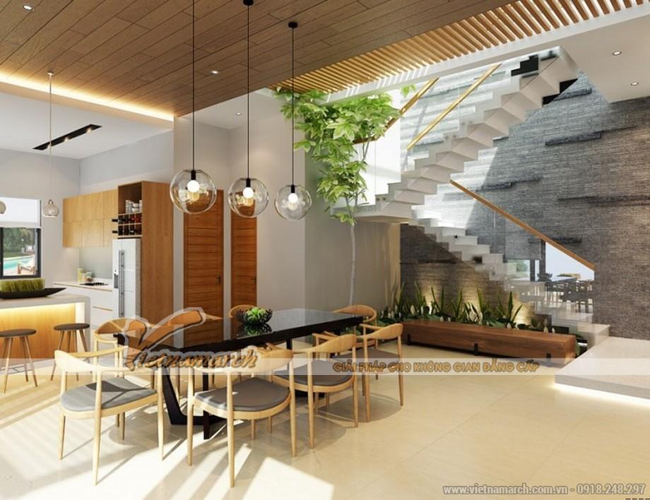 Độc đáo với mẫu biệt thự hiện đại với thiết kế nội thất vật liệu gỗ