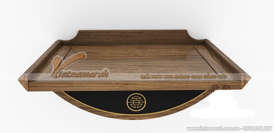 bàn thờtreo tường mang phong cách đơn giản, hiện đại làm từ gỗ óc chó cao cấp