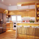 Những mẫu tủ bếp có bàn bar phù hợp cho căn hộ chung cư hiện đại