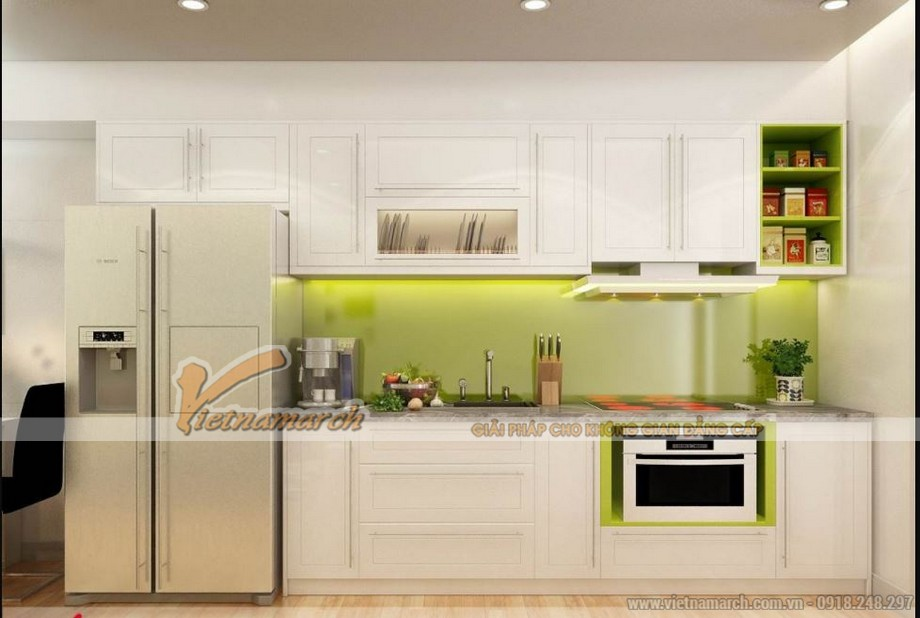 Mẫu tủ bếp chữ I hiện đại nhỏ gọn phù hợp cho căn hộ chung cư