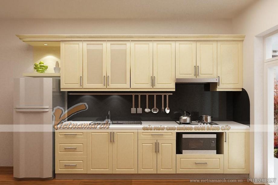 Mẫu tủ bếp chữ I cực kì đẹp với tone màu sang trọng