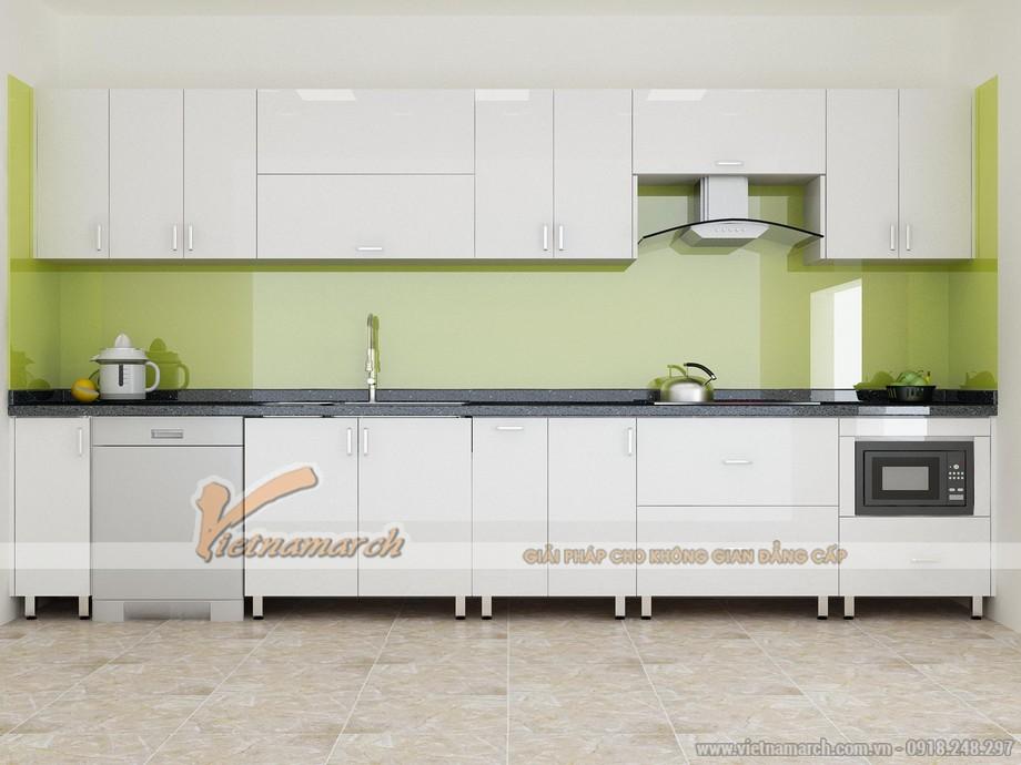 Mẫu tủ bếp chữ I đẹp và hiện đại phù hợp cho căn hộ chung cư