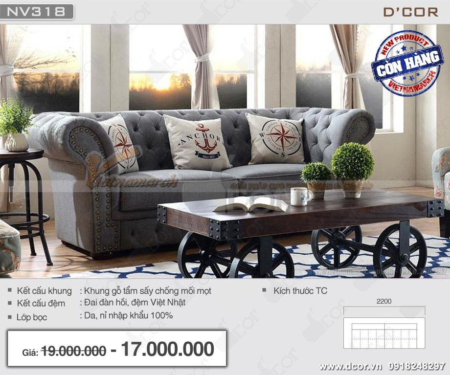Mẫu sofa văng tân cổ điển màu gi giá rẻ bọc nỉ ấn tượng