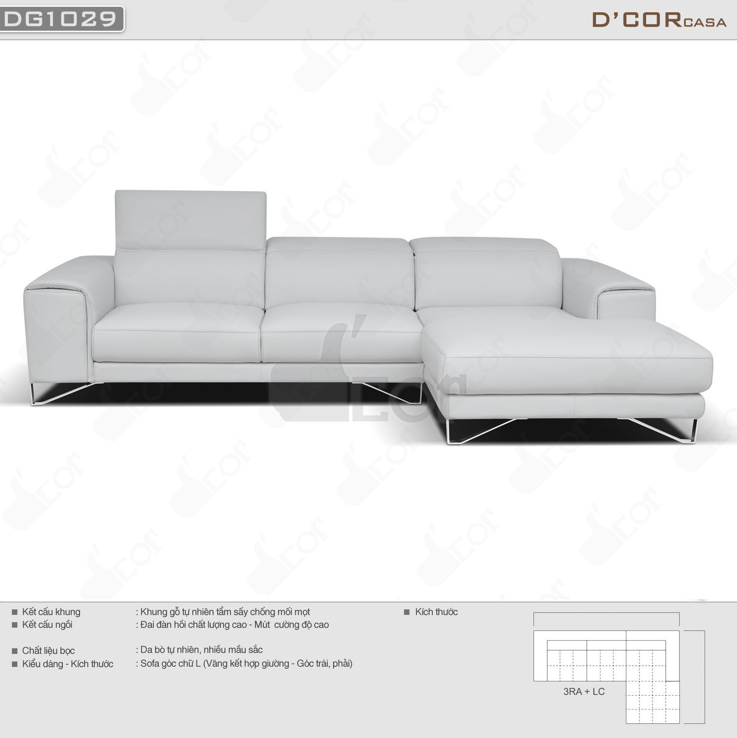 Mẫu sofa góc da nhập khẩu Italia màu trắng thanh lịch