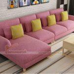 Mẫu ghế sofa góc vải nỉ màu sắc hiện đại cho phòng khách