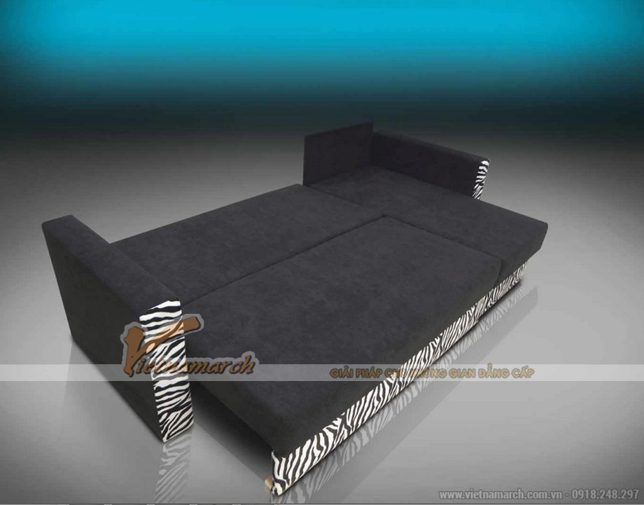 Mẫu sofa bed vải nỉ nhập khẩu Đài Loan khi mở ra thành giường ngủ