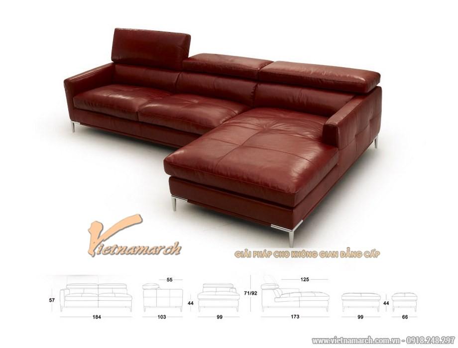 Mẫu sofa da nhập khẩu Đài Loan màu đỏ ấn tượng