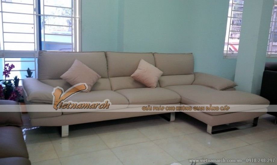 Bộ sofa da nhập khẩu chữ L thiết kế sang trọng cho phòng khách rộng
