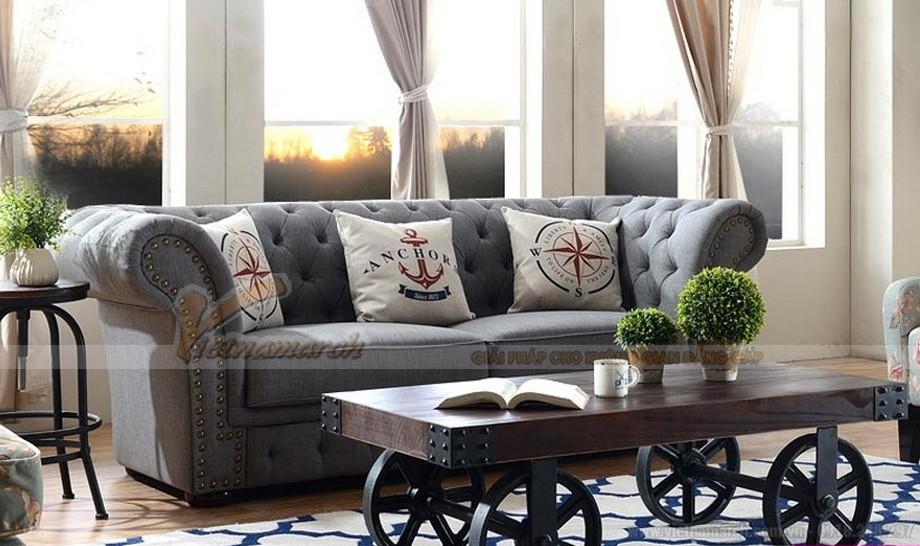Mẫu sofa văng vải nỉ nhập khẩu Đài Loan phong cách tân cổ điển
