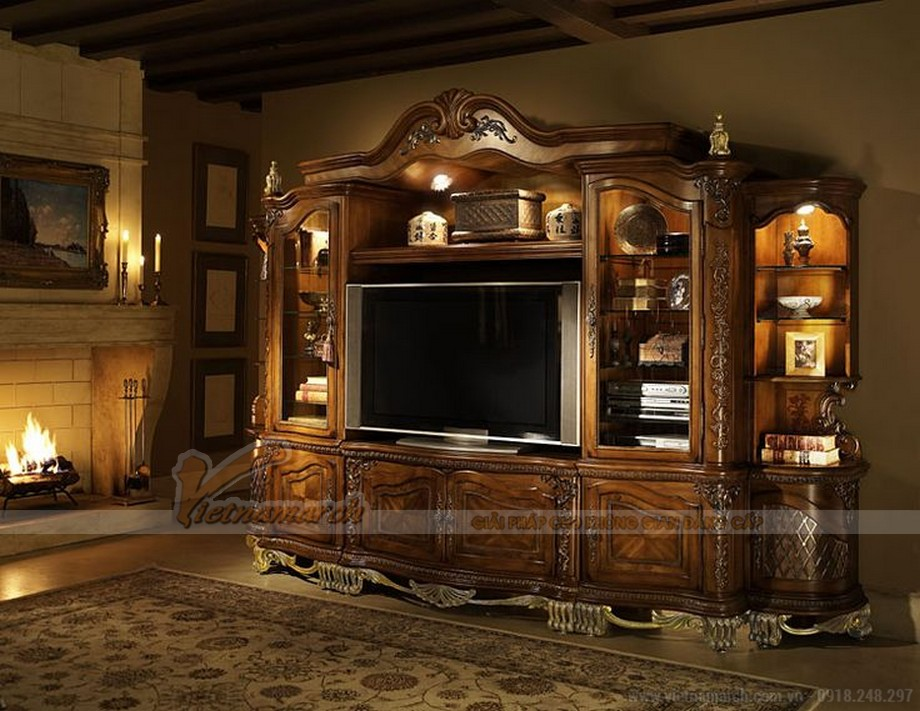 Các mẫu kệ tủ tivi theo phong cách tân cổ điển sang trọng, ấn tượng nhất