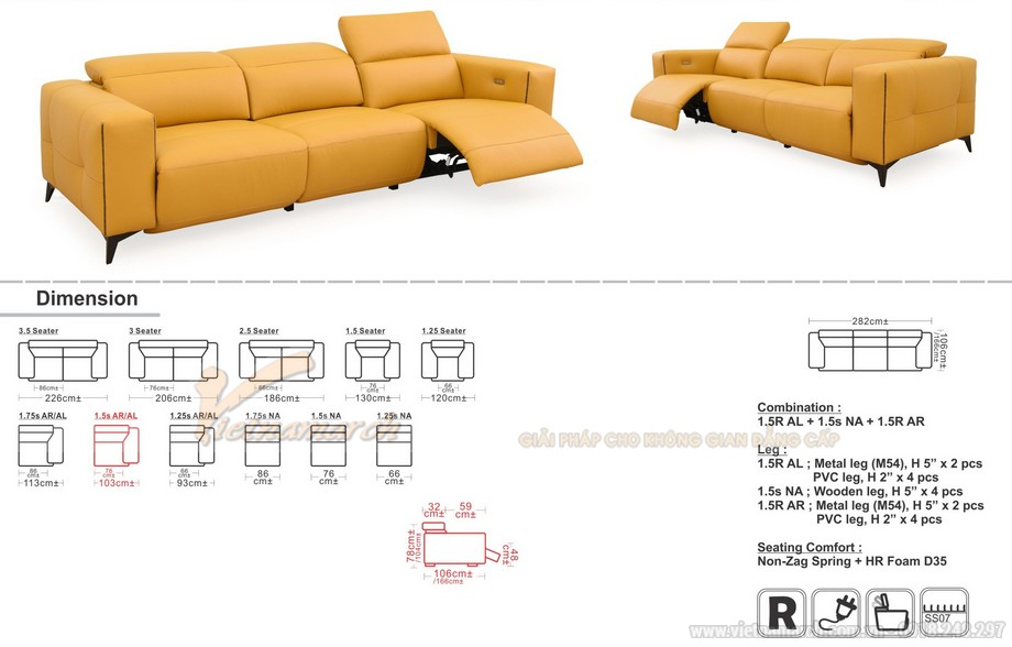 Mẫu ghế sofa da màu vàng tươi tắn nhập khẩu Đài Loan
