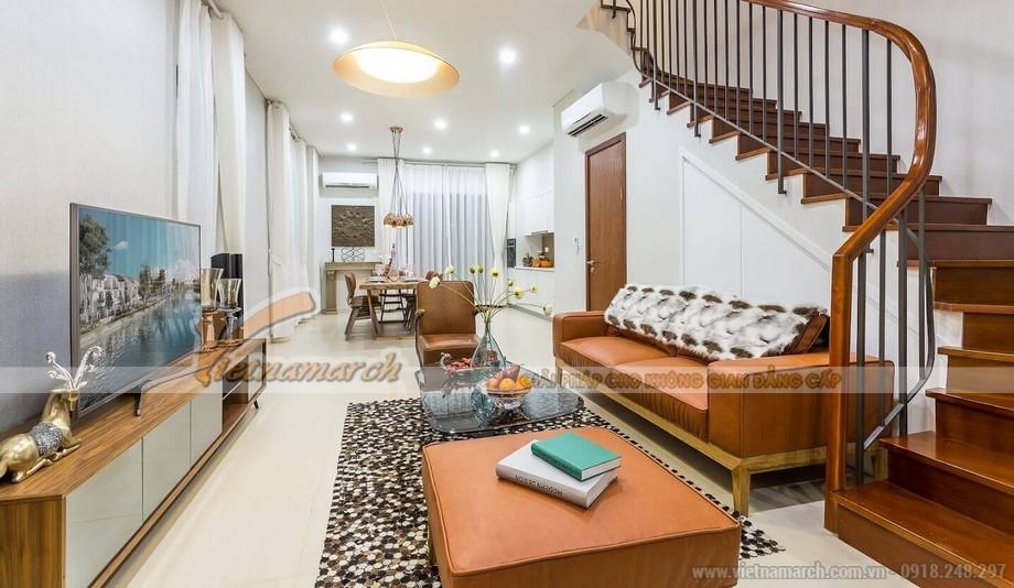 Phối cảnh phòng khách căn hộ mẫu biệt thự Vinhomes Thăng Long phong cách hiện đại