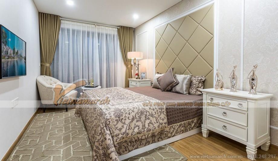 Phối cảnh phòng ngủ 1 căn hộ mẫu biệt thự Vinhomes Thăng Long phong cách tân cổ điển