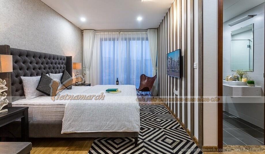 Phối cảnh phòng ngủ 2 căn hộ mẫu biệt thự Vinhomes Thăng Long tân cổ điển