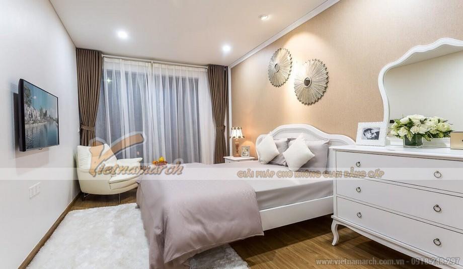 Phối cảnh phòng ngủ 3 căn hộ mẫu biệt thự Vinhomes Thăng Long gam màu sáng sang trọng