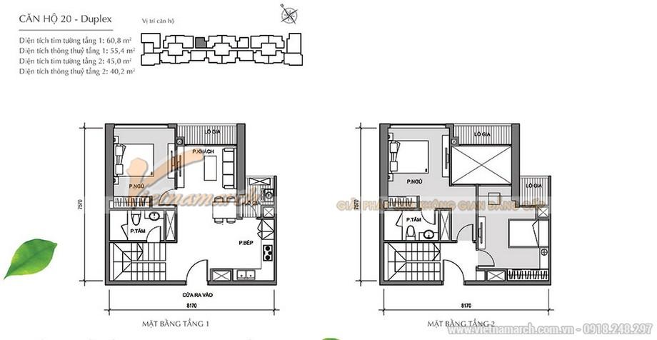 Căn hộ số 20 là căn duplex gồm 2 tầng.