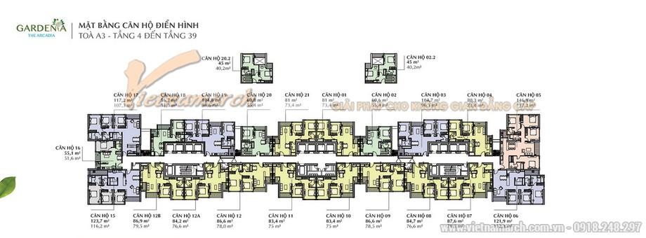 Tổng quan mặt bằng các căn hộ tòa A3 chung cư Vinhomes Gardenia