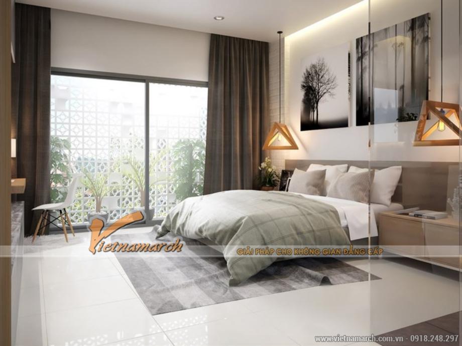 Phòng ngủ với tone màu sáng mang lại cảm giác thông thoáng và rộng rãi