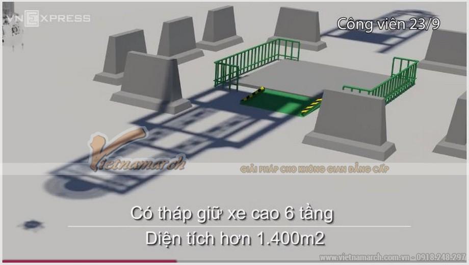 Tháp giữ xe ở công viên 23/9 cao 6 tầng