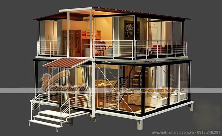 Mẫu nhà container 2 tầng mái thái hiện đại