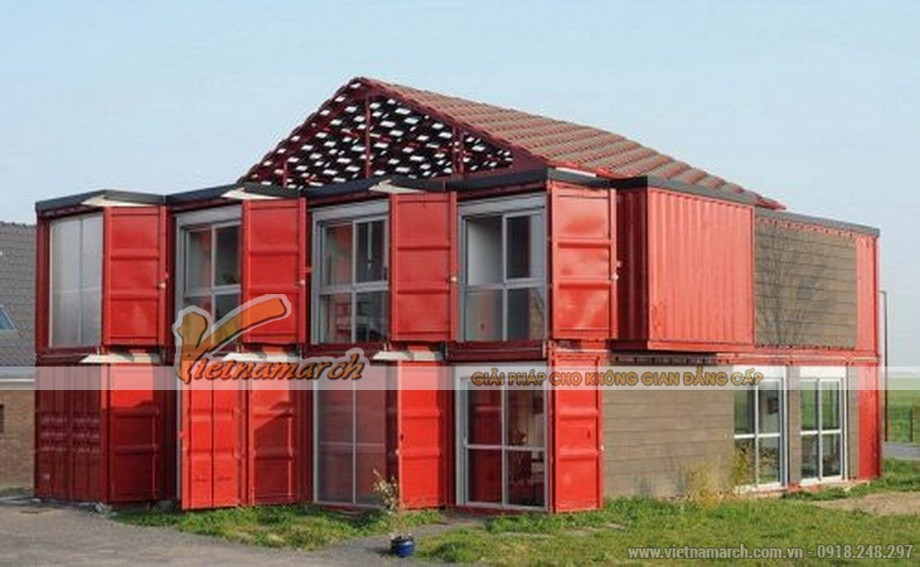 Mẫu nhà container 2 tầng được thiết kế khá hiện đại và tối ưu