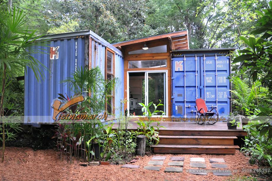 Ngôi nhà được làm bằng thùng container nằm trong rừng sinh thái 02