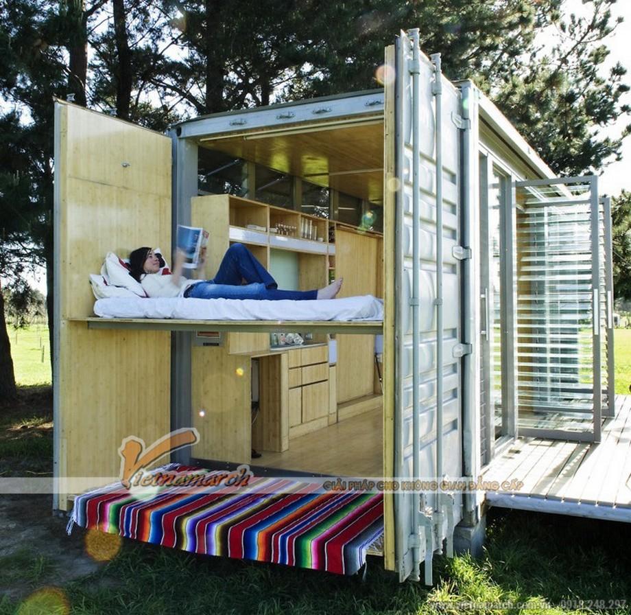 Phòng ngủ của nhà container khá thoải mái