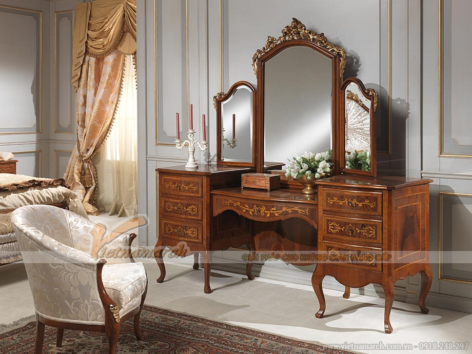 Mẫu bàn trang điểm đậm phong cách cổ điển, tân cổ điển sang trọng
