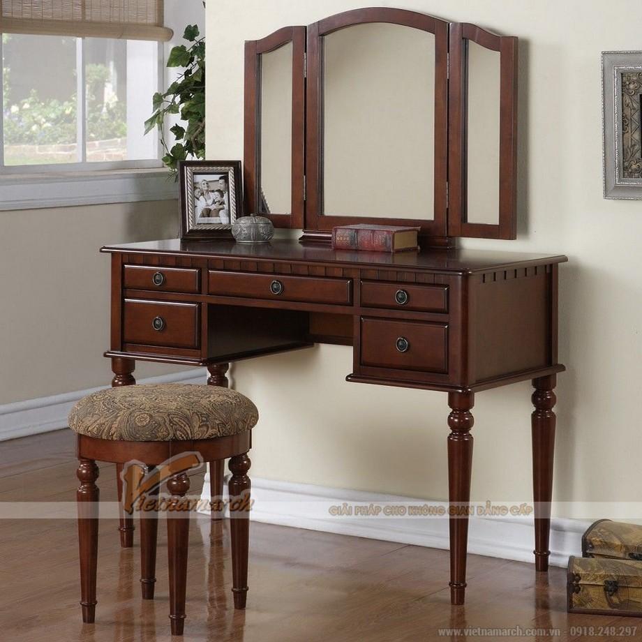 Mẫu bàn trang điểm bằng gỗ, có thiết kế truyền thống - MS01