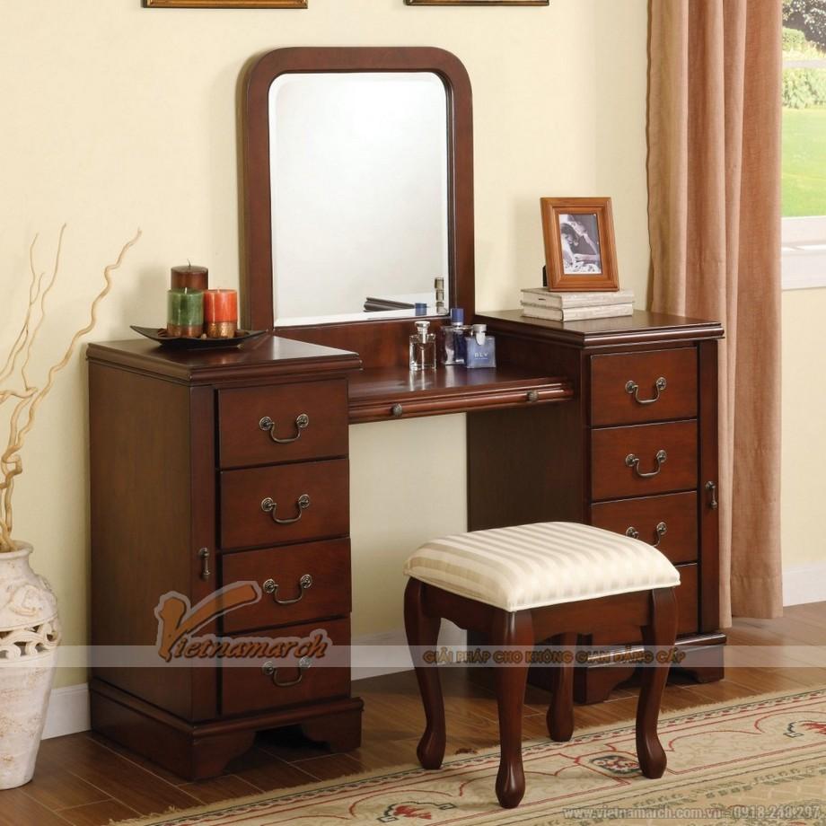 Mẫu bàn trang điểm bằng gỗ, có thiết kế truyền thống - MS02