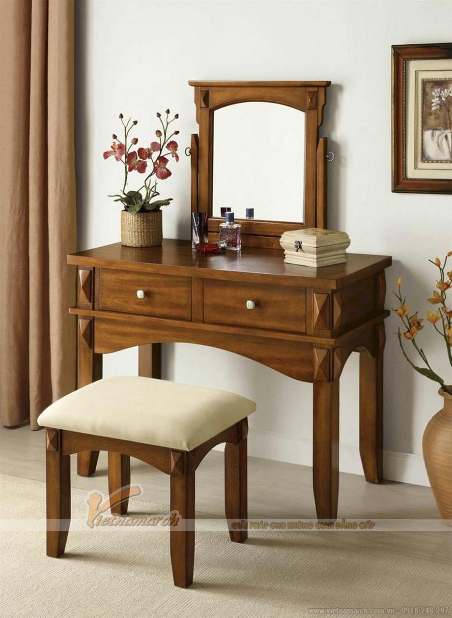Mẫu bàn trang điểm bằng gỗ, có thiết kế truyền thống - MS03
