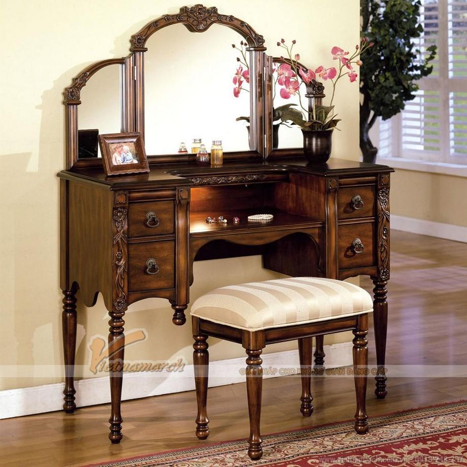 Mẫu bàn trang điểm đậm phong cách cổ điển, tân cổ điển sang trọng - MS 07