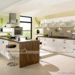 Mẫu tủ bếp Laminate có bàn đảo đẹp phù hợp với mọi không gian