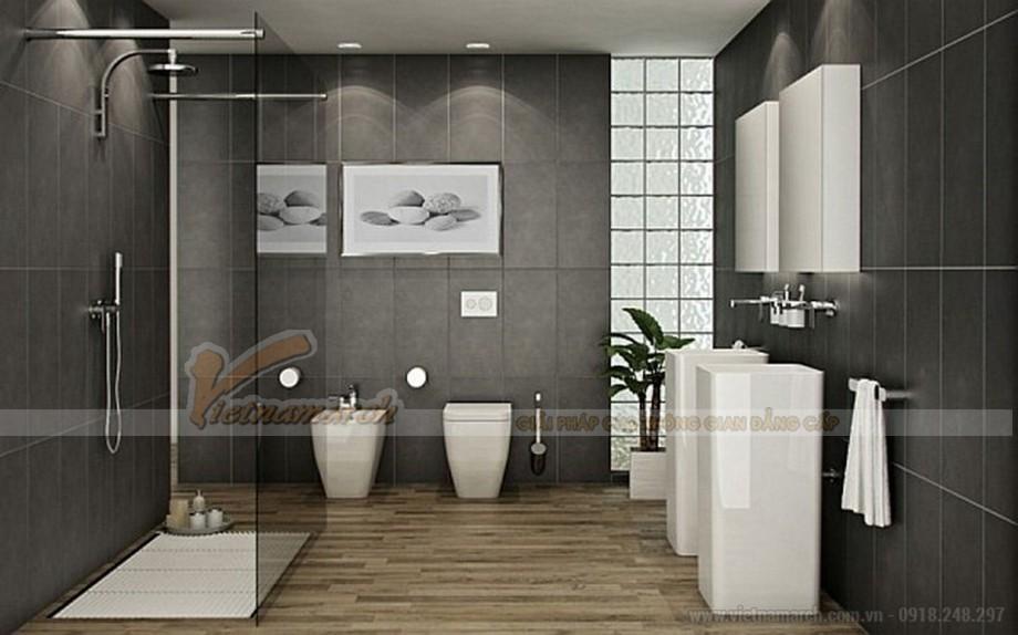 Hai màu sắc chính đen và trắng tong phòng tắm này