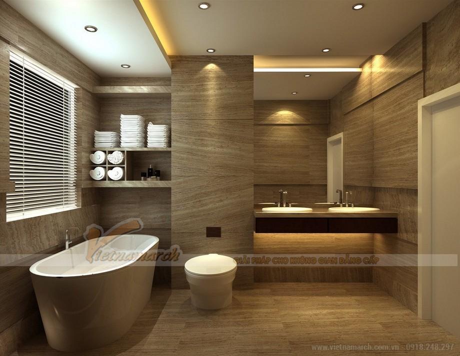 Phòng tắm hiện đại với full đồ nội thất màu nâu gỗ