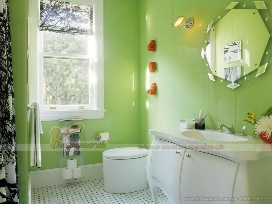 Màu xanh cốm trong phòng tắm nhìn thật dễ thương.