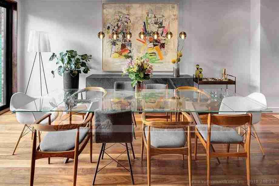 Bộ bàn ghế ăn thiết kế vô cùng hiện đại, phong cách