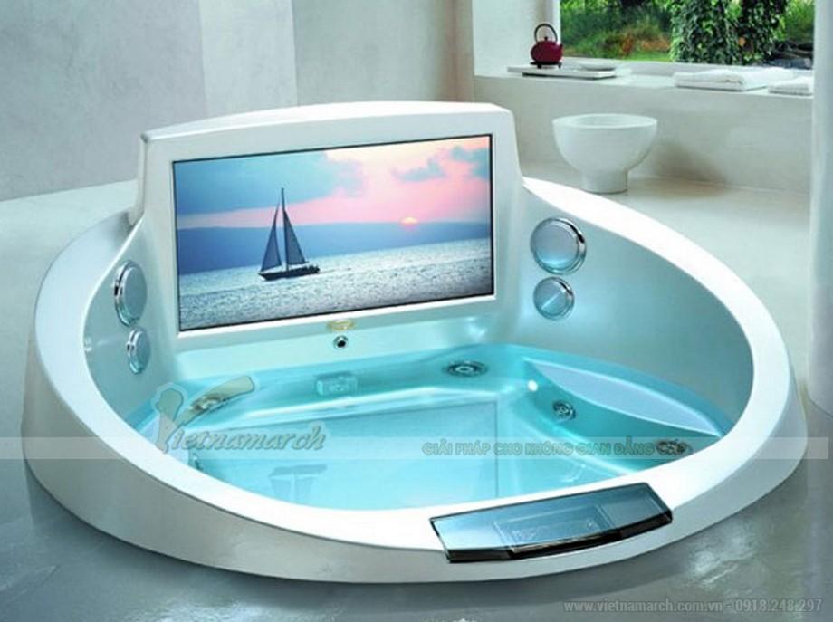 Phòng tắm tích hợp công nghệ hiện đại vào bồn tắm cho người dùng thư giãn tối đa.