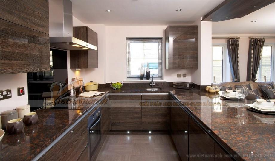 Tủ bếp gỗ mặt đá granit cao cấp