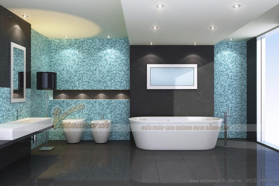 Sử dụng trần thạch cao chống ẩm, hoặc trần nhôm, trần nhựa ... cho nhà tắm