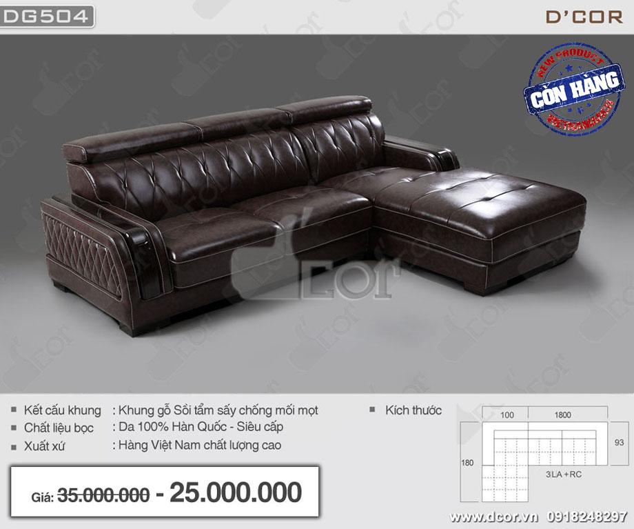 Sofa góc bọc da bóng màu nâu sang trọng hàng Việt Nam chất lượng cao